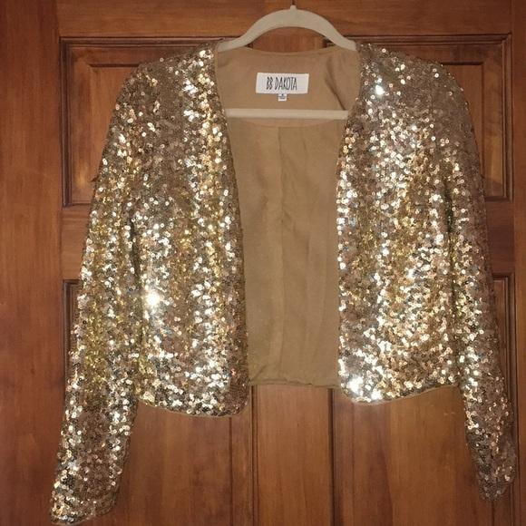 BB Dakota Jackets & Blazers - BB Dakota Gold Sequin Jacket